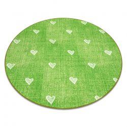 Koberec pro děti HEARTS Kruh Jeans, vintage srdce - zelená