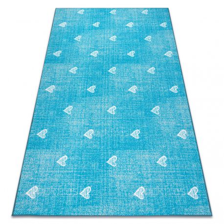 Carpet for kids HEARTS Jeans, vintage children's - turquoise