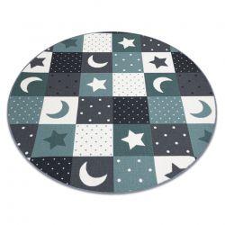 Dywan dla dzieci STARS koło - gwiazdy, gwiazdki, dziecięca, turkus / szary