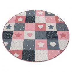 Килим для дітей STARS коло зірок рожевий / сірий