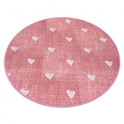Koberec pro děti HEARTS Kruh Jeans, vintage srdce - růžový