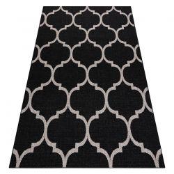 TAPIS EN CORDE SIZAL FLOORLUX 20608 Treillis marocain noir / argentin