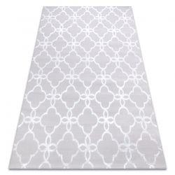 Modern MEFE carpet 8504 Trellis, flowers - structural two levels of fleece grey / white