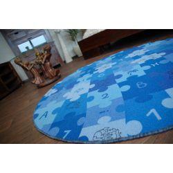 Covor copilăresc Puzzle albastru rotund