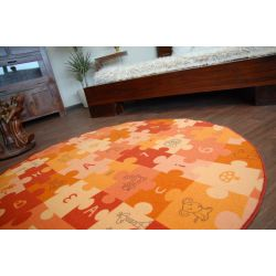 Tappeto kids PUZZLE arancione cerchio