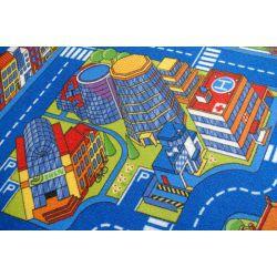 Utcák nagyváros gyermek szőnyeg kék