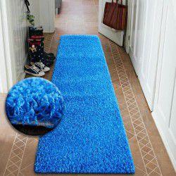 TAPIS DE COULOIR SHAGGY 5cm bleu